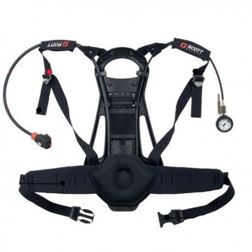 ProPak-i self contained breathing apparatus for single cylinder use, comprising lightweight rigid backplate with cylinder band and fully adjustable body harness: Two stage pneumatic system comprising Tempest automatic positive pressure demand valve with bypass: shoulder mounted pressure indicator and 55 bar warning whistle: first stage pressure reducer with single high pressure 200/300 bar cylinder connector.  Harness fabricated from hard wearing flame retardant Kevlar blend webbing and apparatus features unpadded upper shoulder straps a padded waistbelt and lumbar padding.  Apparatus accepts full range of Scott breathing apparatus cylinders from 4.7 to 9 litres capacity,200 or 300 bar.* Apparatus is CE Marked to EN137:2006 Type 2 and MED approved.