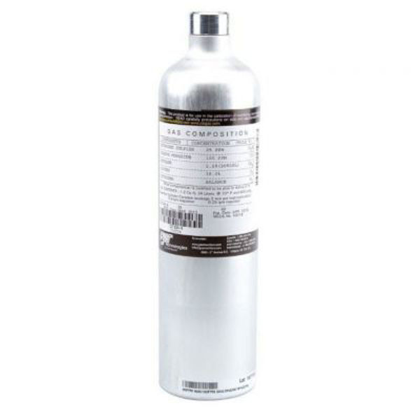 25 ppm Hydrogen Sulphide / 100 ppm Carbon Monoxide / 2.5% Methane / 18% Oxygen in Nitrogen Test Gas.