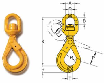 William Hackett Grade 8 Swivel Self Locking Hook - Ball Bearing